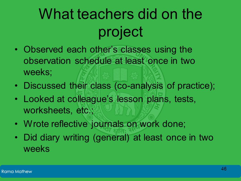 What teachers did on the project Observed each other's classes using the observation schedule at least once in two weeks; Discussed their class (co-an