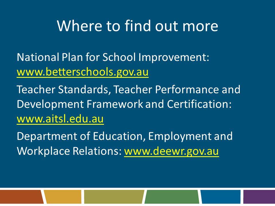 Where to find out more National Plan for School Improvement: www.betterschools.gov.au Teacher Standards, Teacher Performance and Development Framework