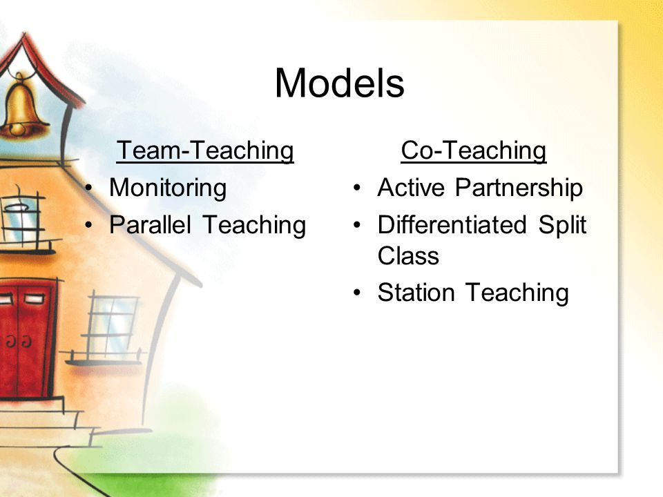 Models Team-Teaching Monitoring Parallel Teaching Co-Teaching Active Partnership Differentiated Split Class Station Teaching