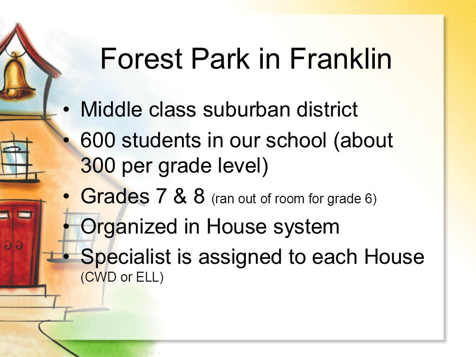 Forest Park in Franklin Middle class suburban district 600 students in our school (about 300 per grade level) Grades 7 & 8 (ran out of room for grade