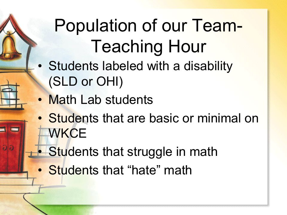 Population of our Team- Teaching Hour Students labeled with a disability (SLD or OHI) Math Lab students Students that are basic or minimal on WKCE Stu