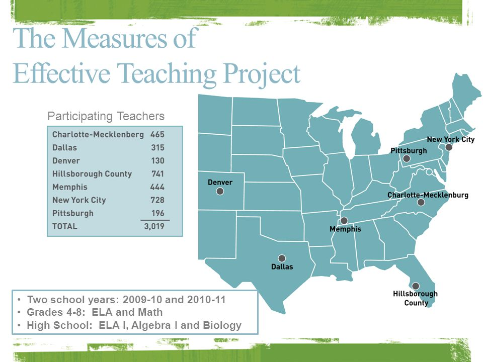 The MET data is unique …  in the variety of indicators tested, 5 instruments for classroom observations (use FFT here) Student surveys (Tripod Survey) Value-added on state tests  in its scale, 3,000 teachers 22,500 observation scores (7,500 lesson videos x 3 scores) 900 + trained observers 44,500 students completing surveys and supplemental assessments in year 1 3,120 additional observations by principals/peer observers in Hillsborough County, FL  and in the variety of student outcomes studied.