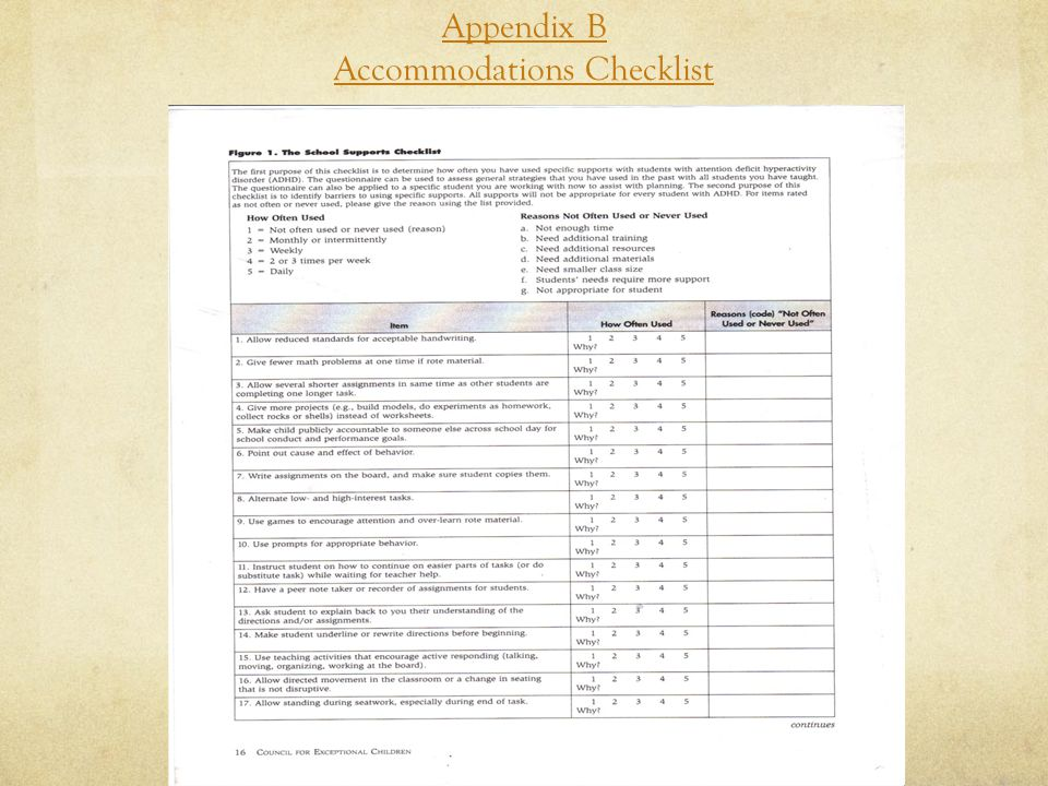 Appendix B Accommodations Checklist