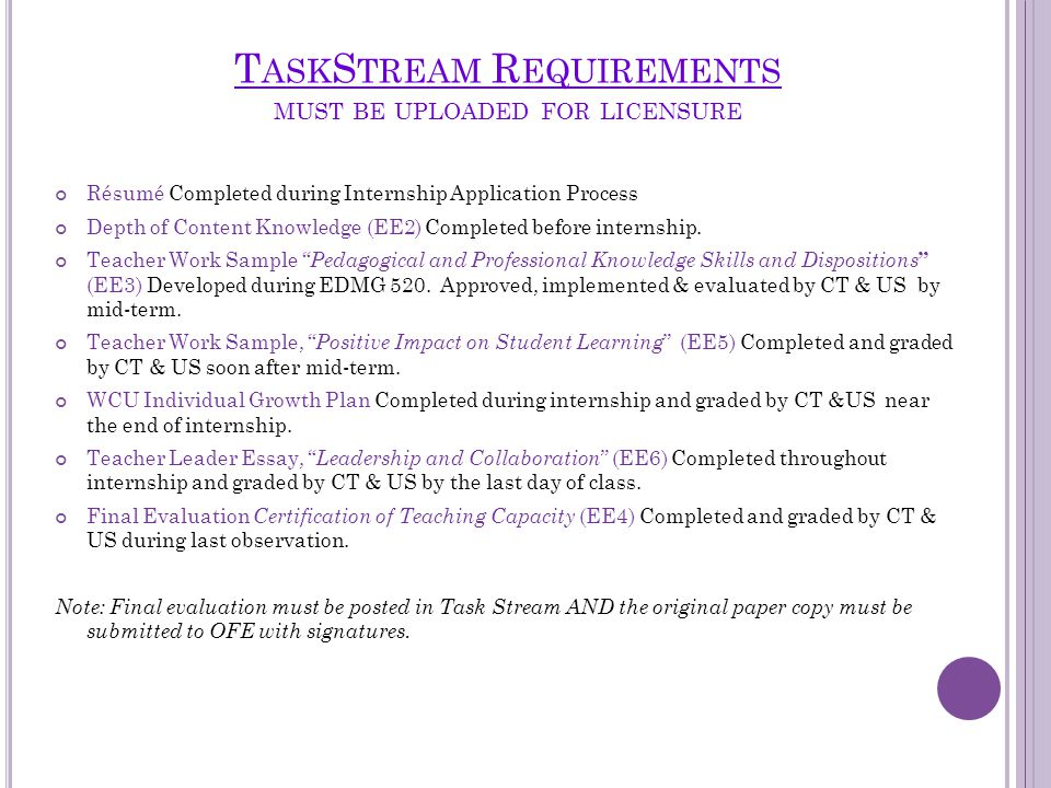 T ASK S TREAM R EQUIREMENTS MUST BE UPLOADED FOR LICENSURE Résumé Completed during Internship Application Process Depth of Content Knowledge (EE2) Completed before internship.