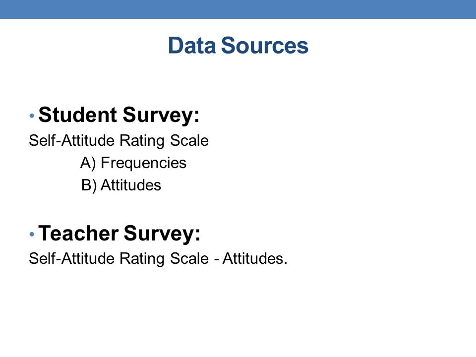 Data Sources Student Survey: Self-Attitude Rating Scale A) Frequencies B) Attitudes Teacher Survey: Self-Attitude Rating Scale - Attitudes.