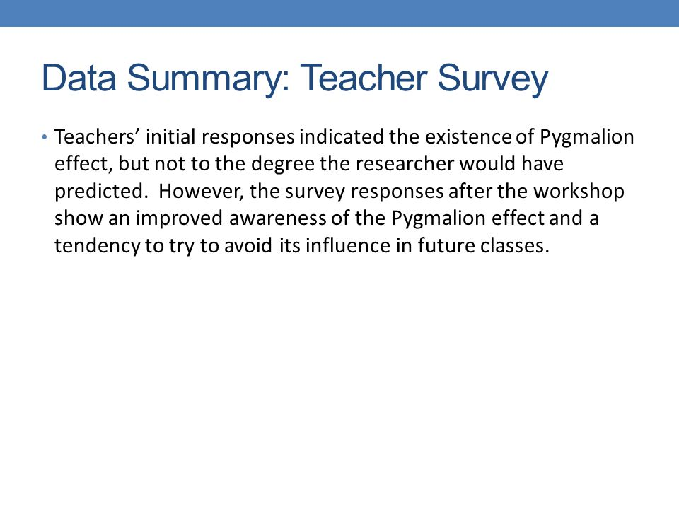 Data Summary: Teacher Survey Teachers' initial responses indicated the existence of Pygmalion effect, but not to the degree the researcher would have predicted.