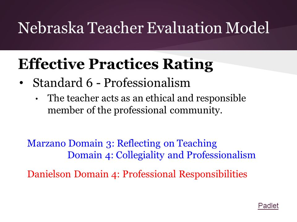 Nebraska Teacher Evaluation Model Effective Practices Rating Standard 6 - Professionalism The teacher acts as an ethical and responsible member of the professional community.