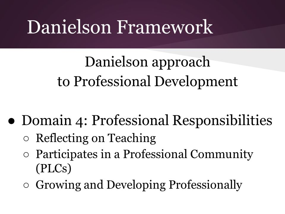 Danielson Framework Danielson approach to Professional Development ●Domain 4: Professional Responsibilities ○ Reflecting on Teaching ○ Participates in a Professional Community (PLCs) ○ Growing and Developing Professionally