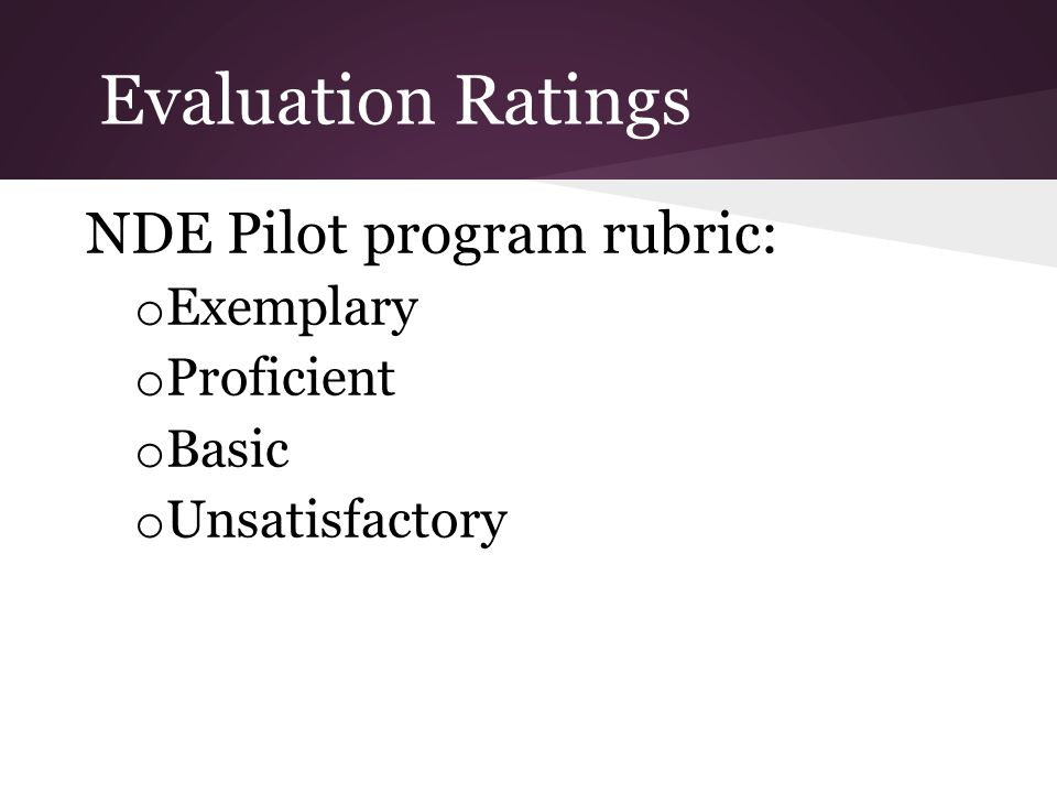 Evaluation Ratings NDE Pilot program rubric: o Exemplary o Proficient o Basic o Unsatisfactory