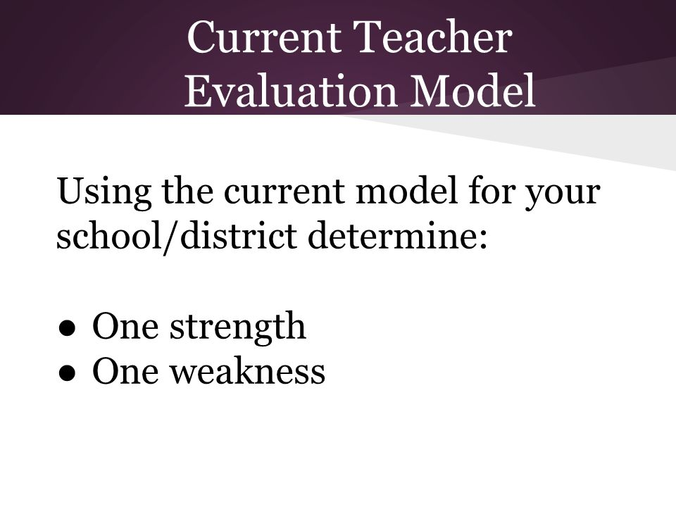Current Teacher Evaluation Model Using the current model for your school/district determine: ●One strength ●One weakness