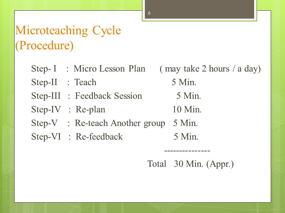Microteaching Cycle (Procedure) 6 Step- I : Micro Lesson Plan ( may take 2 hours / a day) Step-II : Teach 5 Min. Step-III : Feedback Session 5 Min. St