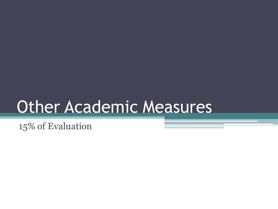 Other Academic Measures 15% of Evaluation