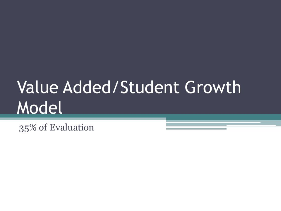 Value Added/Student Growth Model 35% of Evaluation