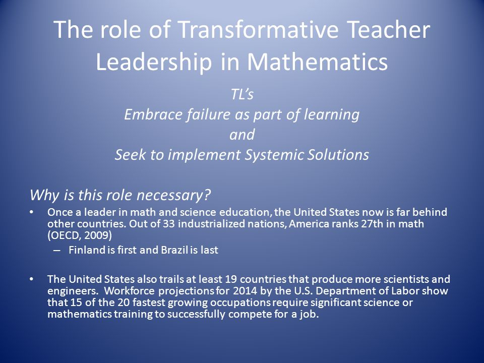 The role of Transformative Teacher Leadership in Mathematics TL's Embrace failure as part of learning and Seek to implement Systemic Solutions Why is this role necessary.
