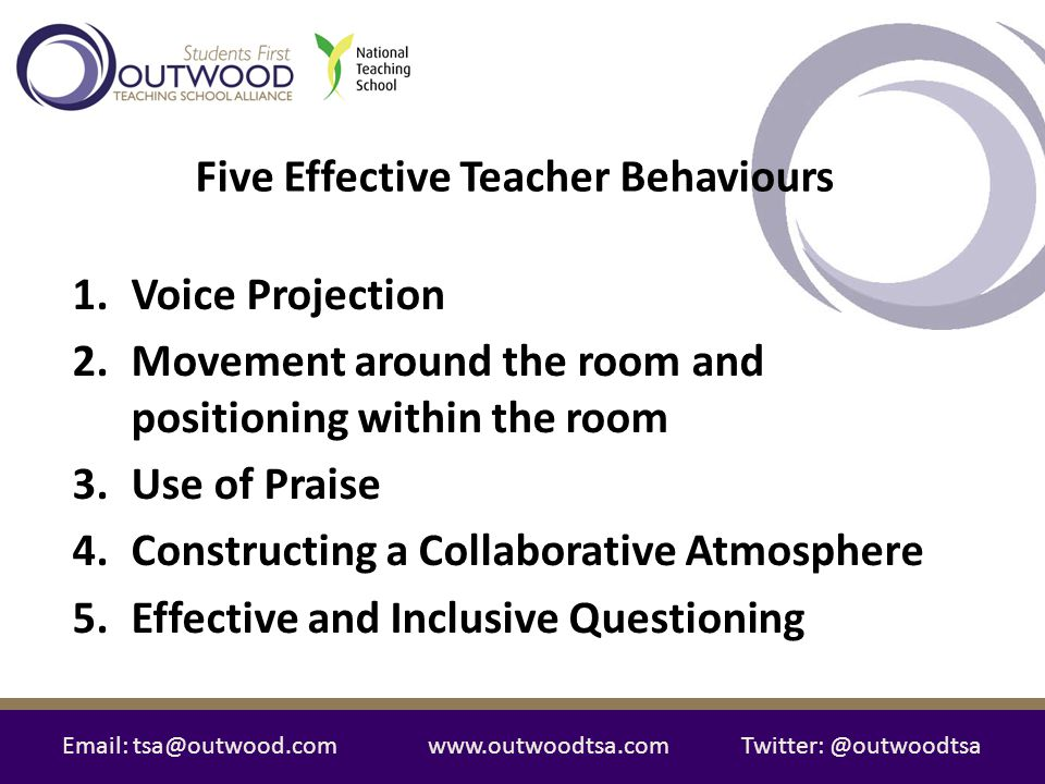 Email: tsa@outwood.comwww.outwoodtsa.comTwitter: @outwoodtsa 1.Voice Projection 2.Movement around the room and positioning within the room 3.Use of Pr