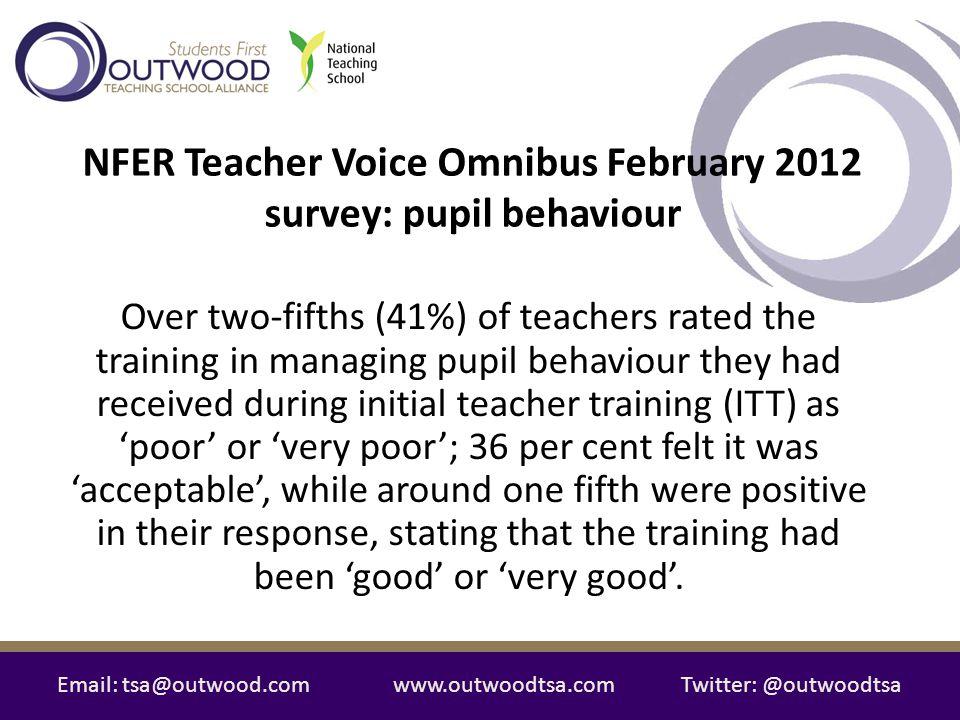 Email: tsa@outwood.comwww.outwoodtsa.comTwitter: @outwoodtsa Over two-fifths (41%) of teachers rated the training in managing pupil behaviour they had