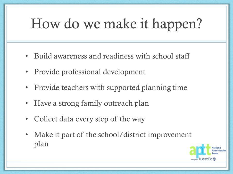 How do we make it happen.