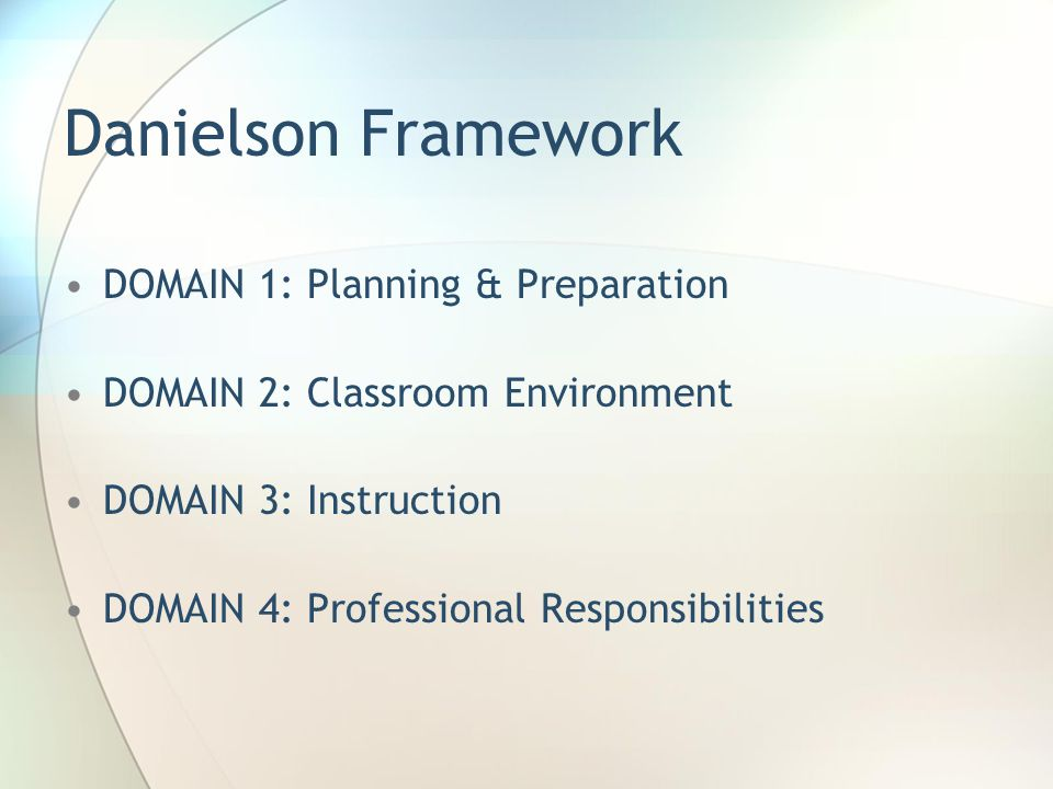 Danielson Framework DOMAIN 1: Planning & Preparation DOMAIN 2: Classroom Environment DOMAIN 3: Instruction DOMAIN 4: Professional Responsibilities