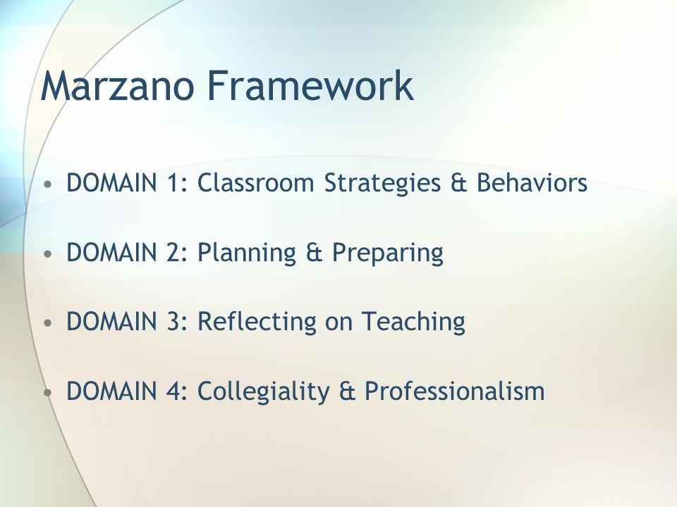 Marzano Framework DOMAIN 1: Classroom Strategies & Behaviors DOMAIN 2: Planning & Preparing DOMAIN 3: Reflecting on Teaching DOMAIN 4: Collegiality &