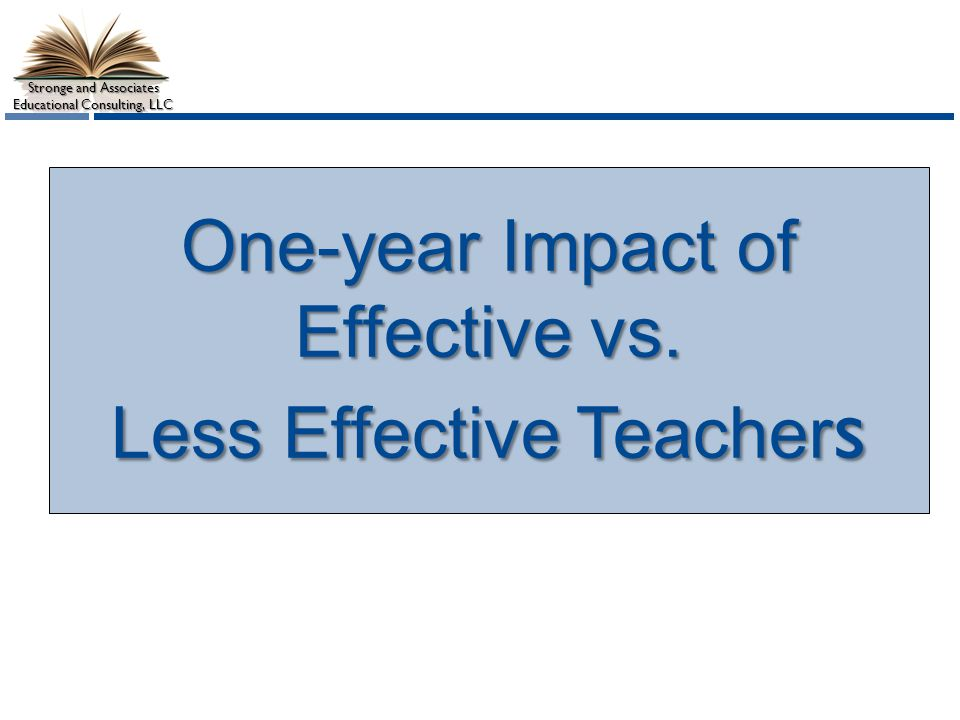 Stronge and Associates Educational Consulting, LLC One-year Impact of Effective vs.