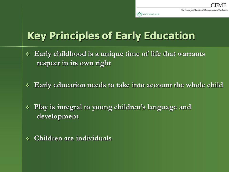  Early childhood is a unique time of life that warrants respect in its own right  Early education needs to take into account the whole child  Play