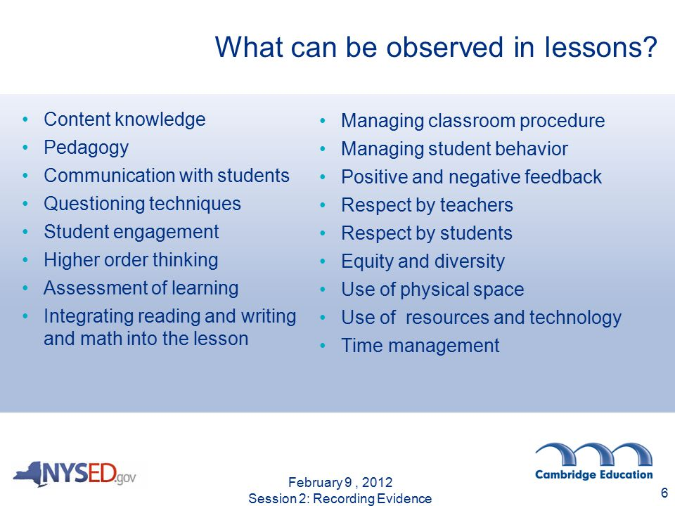 What can be observed in lessons.