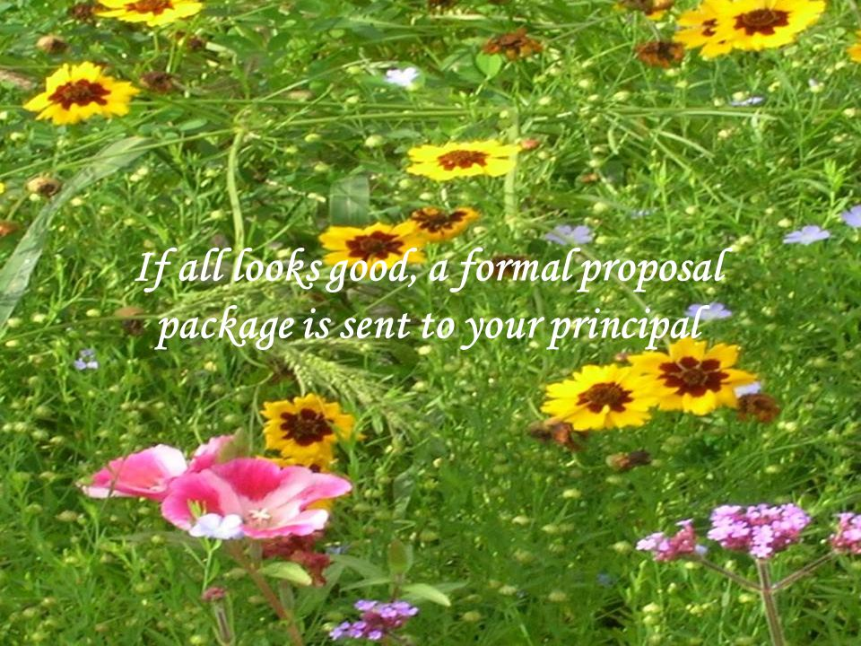 If all looks good, a formal proposal package is sent to your principal