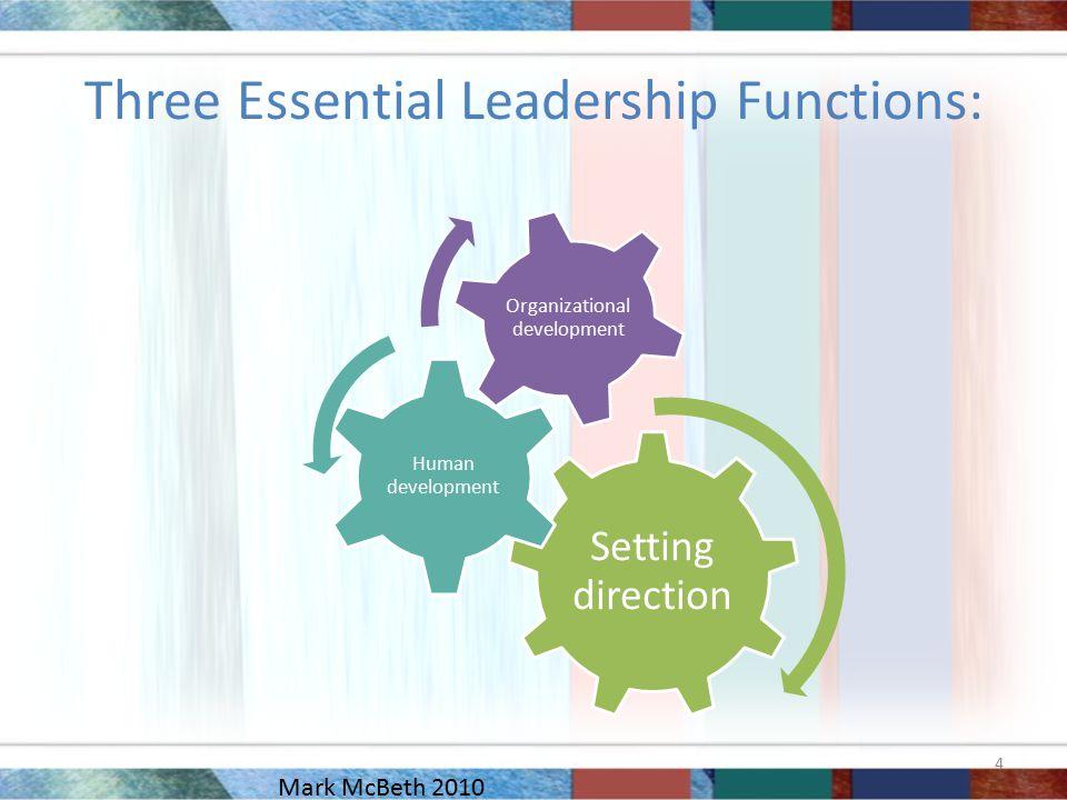 Three Essential Leadership Functions: Setting direction Human development Organizational development 4 Mark McBeth 2010