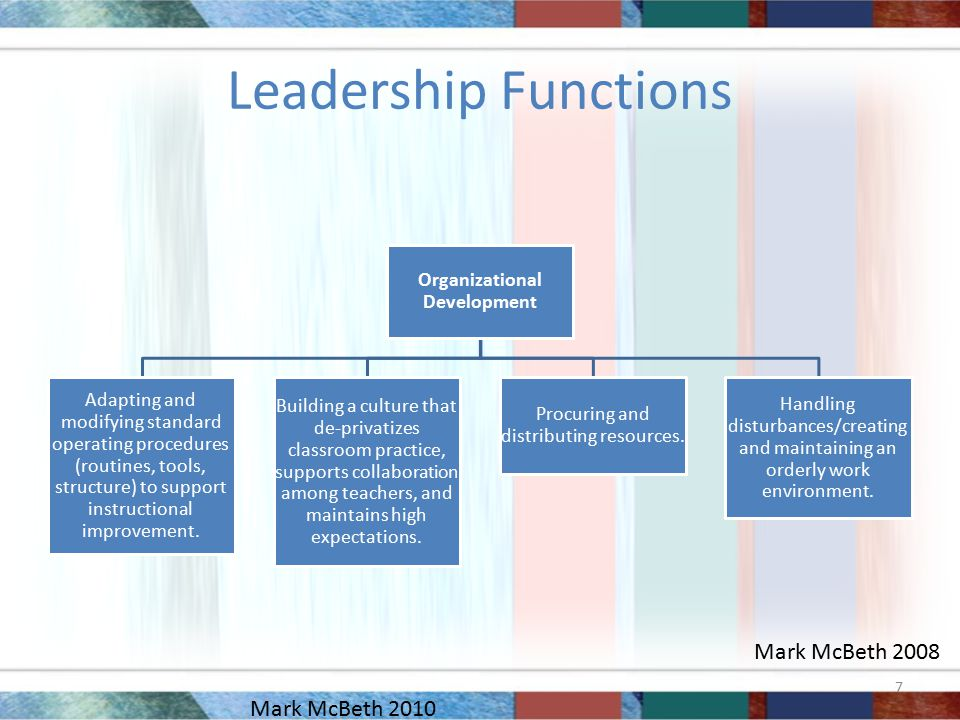 Leadership Functions Organizational Development Adapting and modifying standard operating procedures (routines, tools, structure) to support instructional improvement.