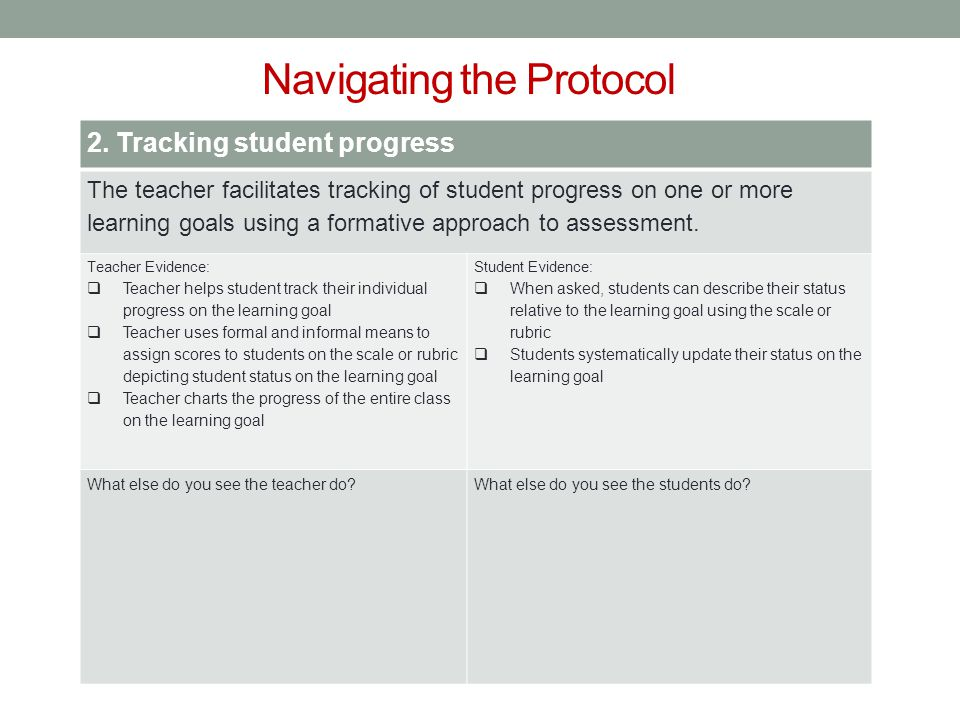 Navigating the Protocol 2. Tracking student progress The teacher facilitates tracking of student progress on one or more learning goals using a format