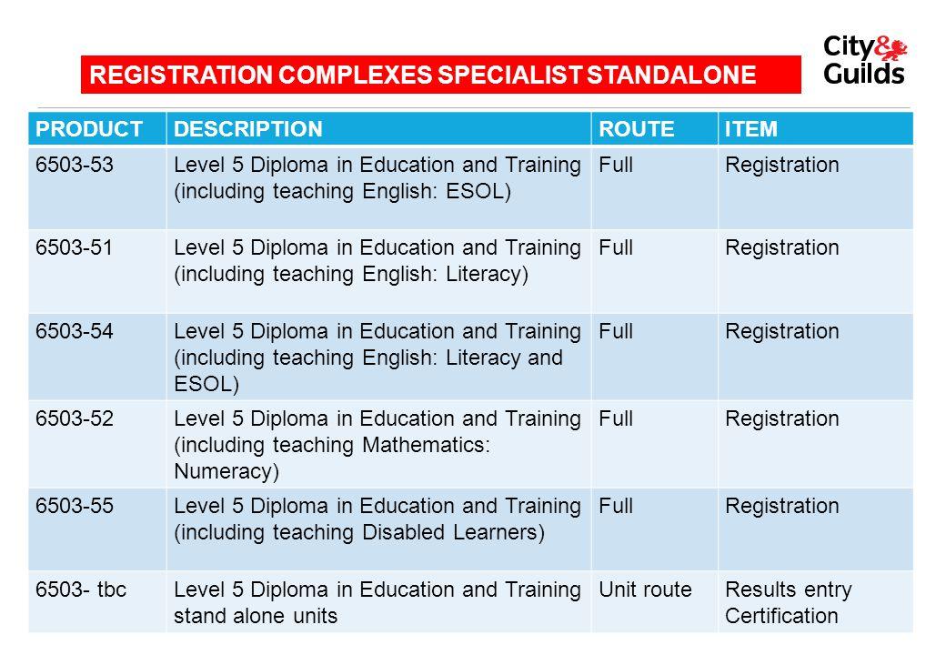 PRODUCTDESCRIPTIONROUTEITEM 6503-53Level 5 Diploma in Education and Training (including teaching English: ESOL) FullRegistration 6503-51Level 5 Diplom