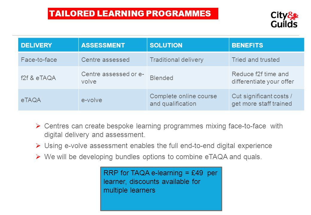 TAILORED LEARNING PROGRAMMES  Centres can create bespoke learning programmes mixing face-to-face with digital delivery and assessment.  Using e-volv