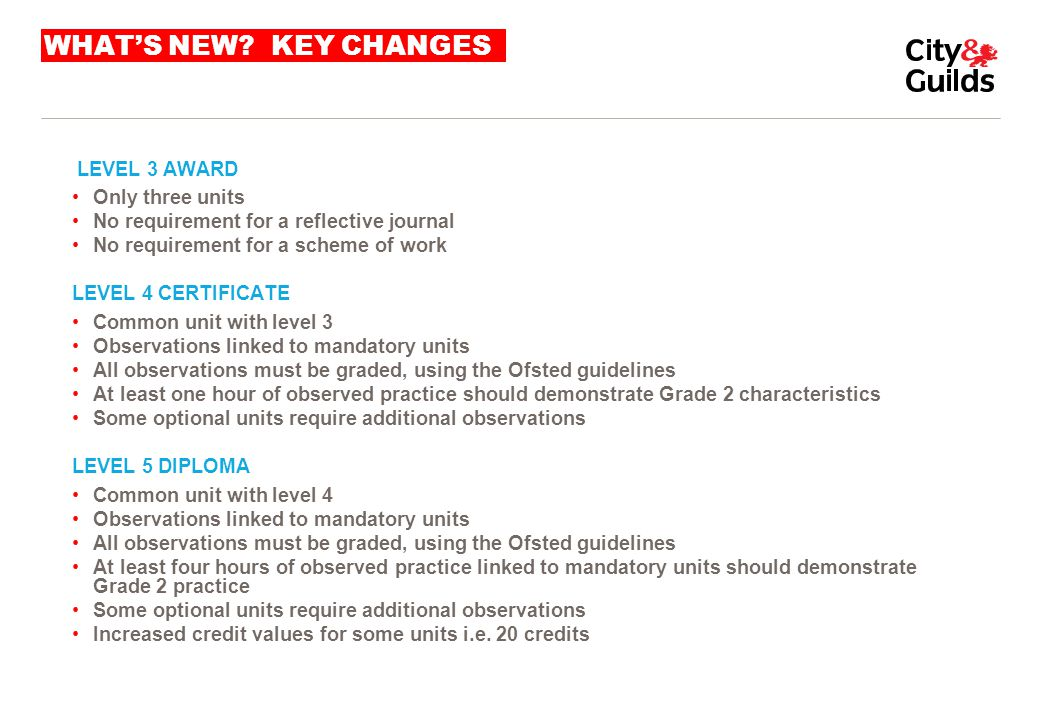 WHAT'S NEW? KEY CHANGES LEVEL 3 AWARD Only three units No requirement for a reflective journal No requirement for a scheme of work LEVEL 4 CERTIFICATE