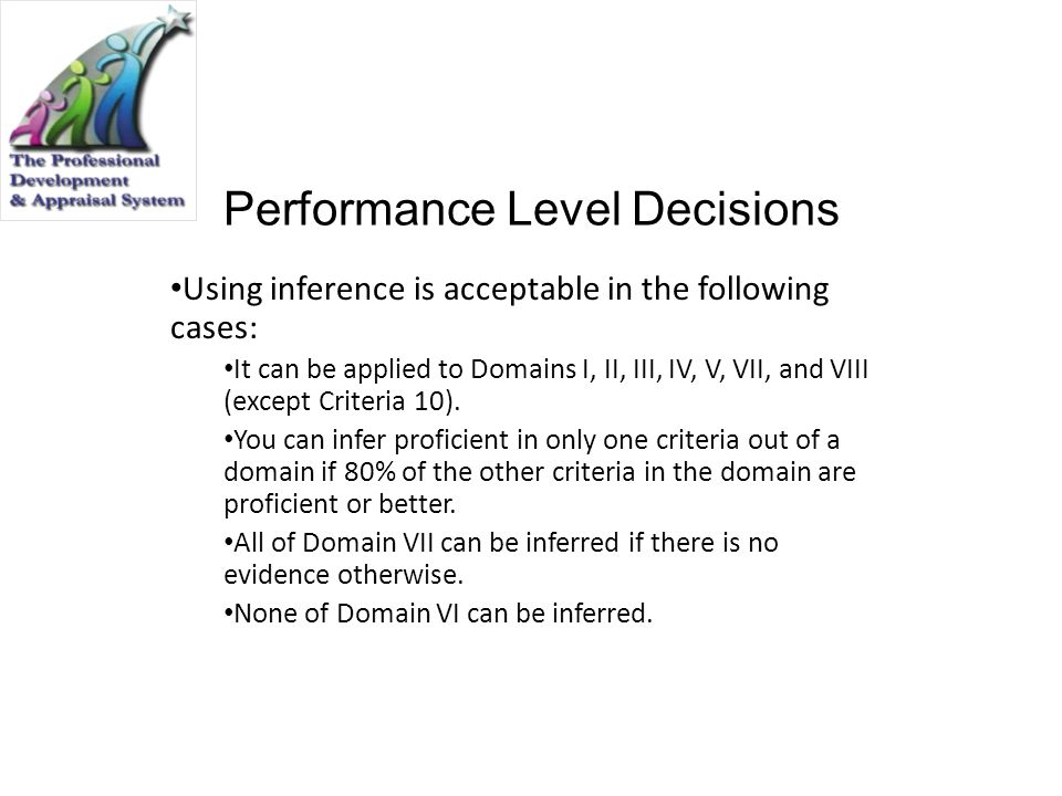 Performance Level Decisions Using inference is acceptable in the following cases: It can be applied to Domains I, II, III, IV, V, VII, and VIII (excep