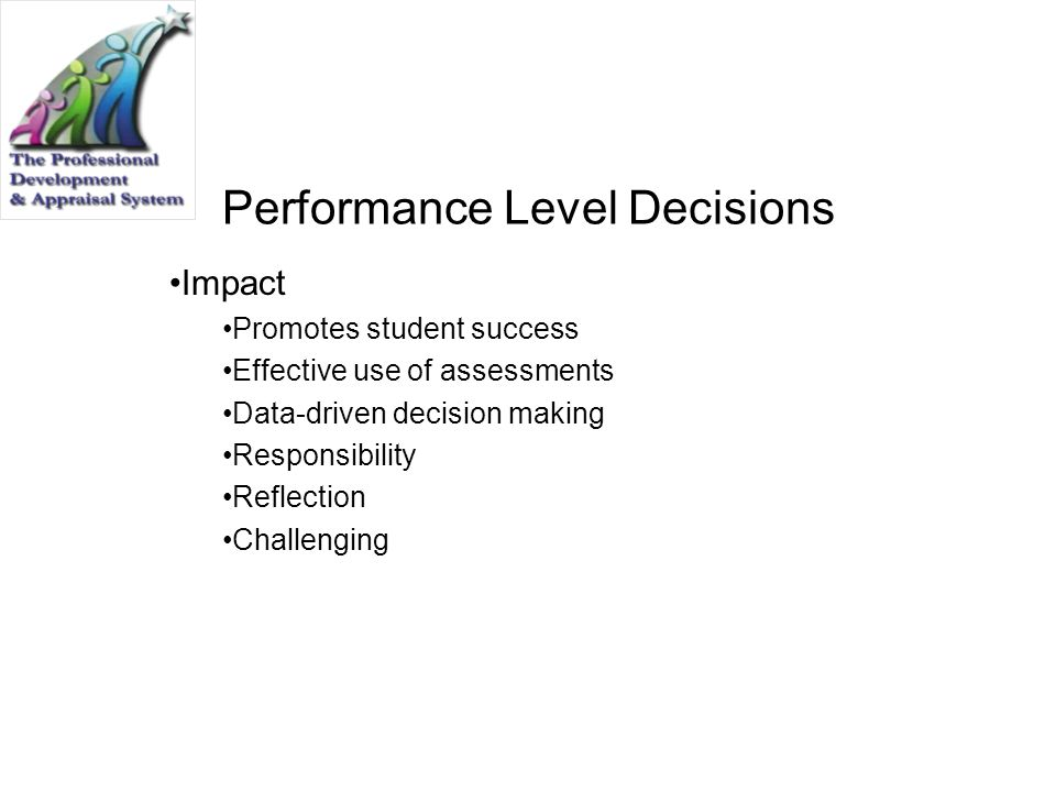 Performance Level Decisions Impact Promotes student success Effective use of assessments Data-driven decision making Responsibility Reflection Challen