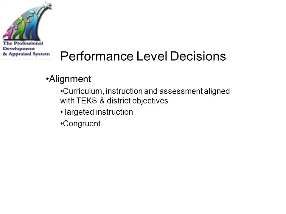 Performance Level Decisions Alignment Curriculum, instruction and assessment aligned with TEKS & district objectives Targeted instruction Congruent