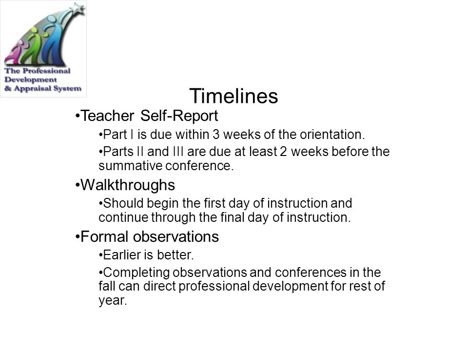 Timelines Teacher Self-Report Part I is due within 3 weeks of the orientation. Parts II and III are due at least 2 weeks before the summative conferen