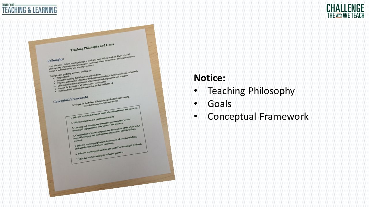 Notice: Teaching Philosophy Goals Conceptual Framework