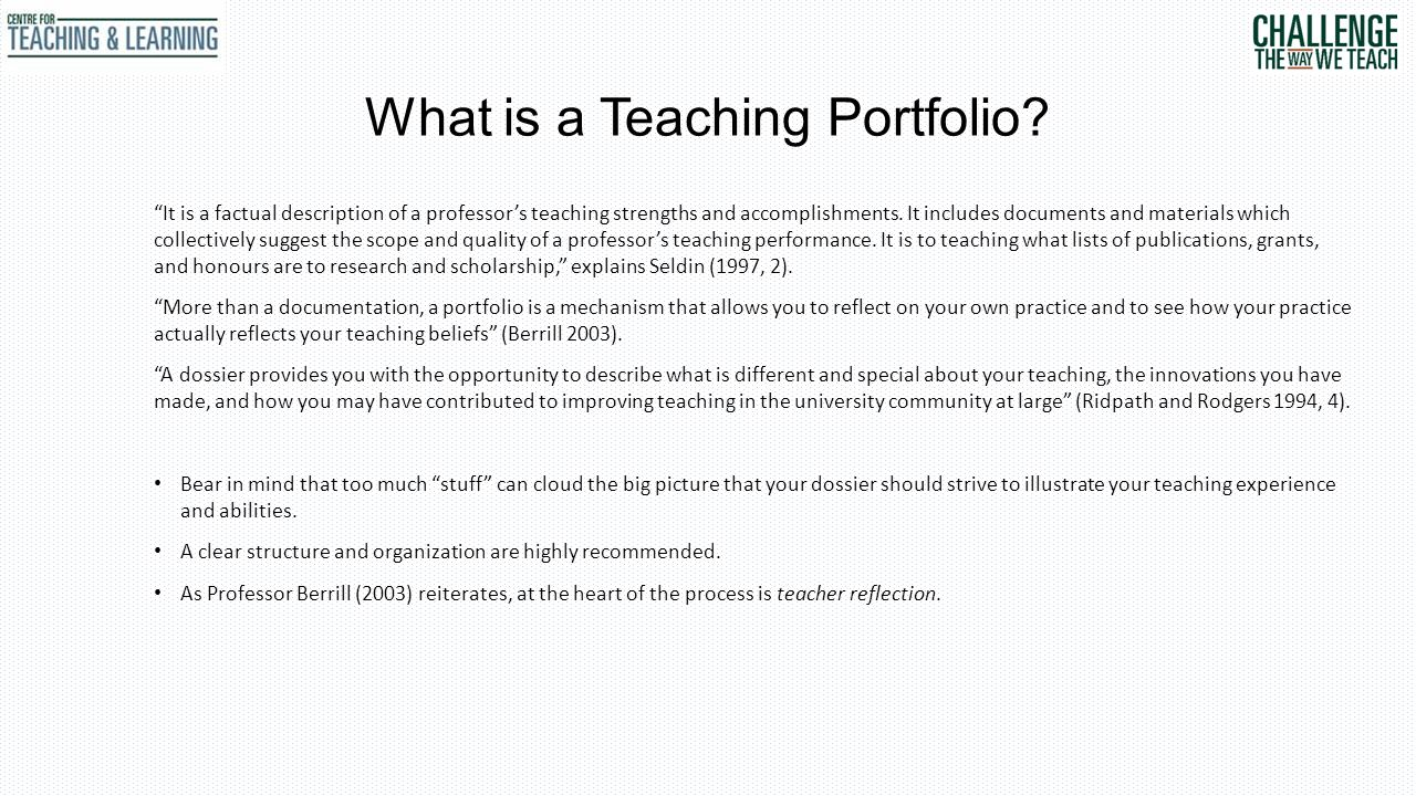 What is a Teaching Portfolio.