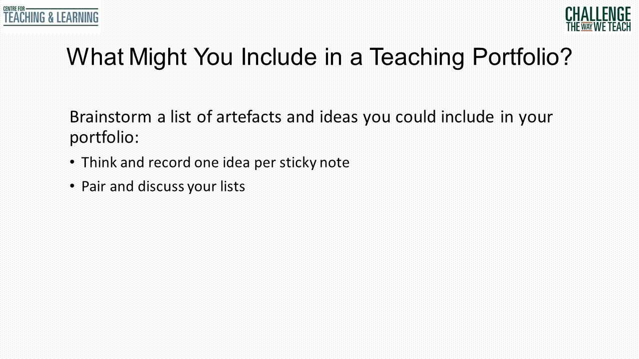 What Might You Include in a Teaching Portfolio.