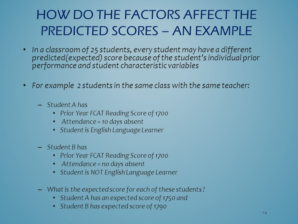 In a classroom of 25 students, every student may have a different predicted(expected) score because of the student's individual prior performance and