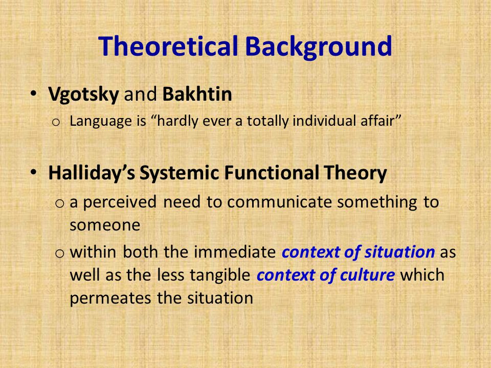 "Theoretical Background Vgotsky and Bakhtin o Language is ""hardly ever a totally individual affair"" Halliday's Systemic Functional Theory o a perceived"
