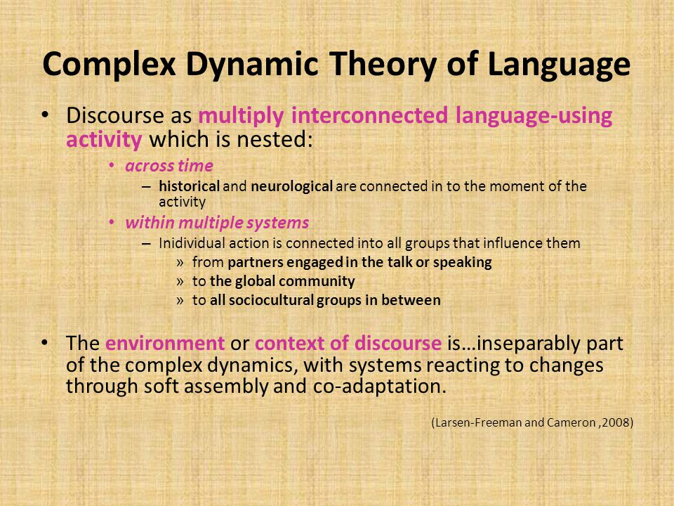 Complex Dynamic Theory of Language Discourse as multiply interconnected language-using activity which is nested: across time – historical and neurolog