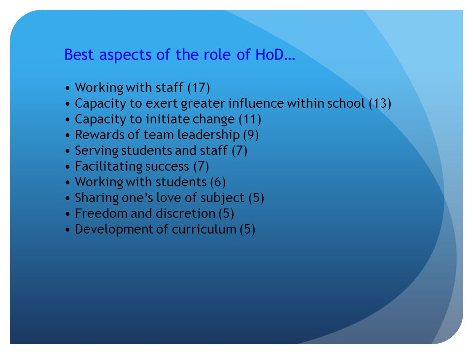 Best aspects of the role of HoD… Working with staff (17) Capacity to exert greater influence within school (13) Capacity to initiate change (11) Rewards of team leadership (9) Serving students and staff (7) Facilitating success (7) Working with students (6) Sharing one's love of subject (5) Freedom and discretion (5) Development of curriculum (5)