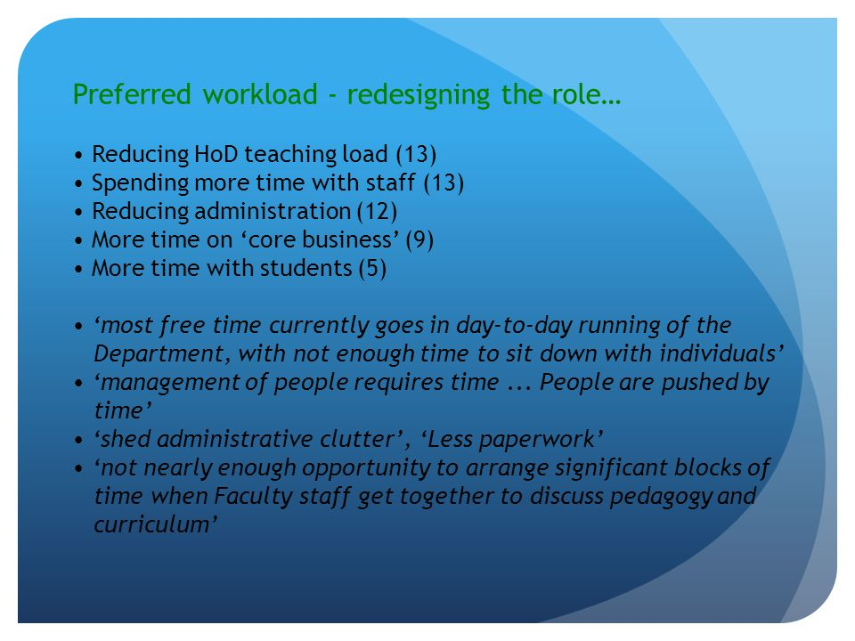 Preferred workload - redesigning the role… Reducing HoD teaching load (13) Spending more time with staff (13) Reducing administration (12) More time on 'core business' (9) More time with students (5) 'most free time currently goes in day-to-day running of the Department, with not enough time to sit down with individuals' 'management of people requires time...