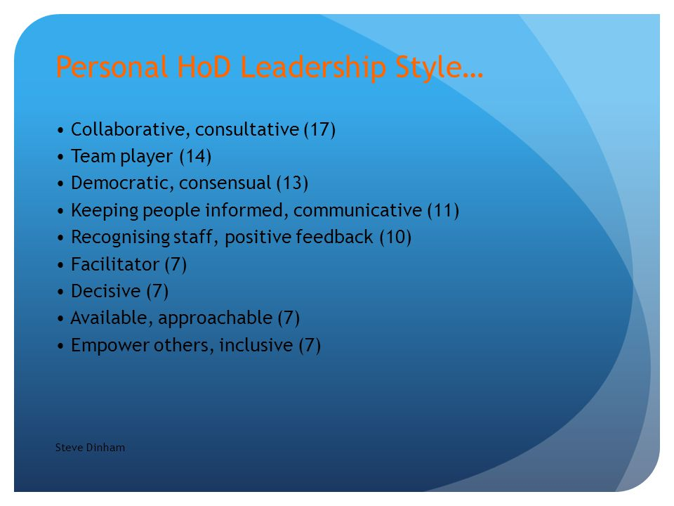 Personal HoD Leadership Style… Collaborative, consultative (17) Team player (14) Democratic, consensual (13) Keeping people informed, communicative (11) Recognising staff, positive feedback (10) Facilitator (7) Decisive (7) Available, approachable (7) Empower others, inclusive (7) Steve Dinham