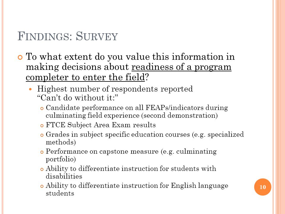 F INDINGS : S URVEY To what extent do you value this information in making decisions about readiness of a program completer to enter the field? Highes