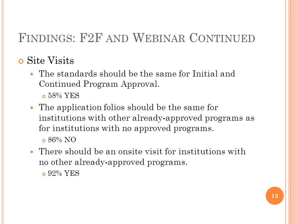 F INDINGS : F2F AND W EBINAR C ONTINUED Site Visits The standards should be the same for Initial and Continued Program Approval.