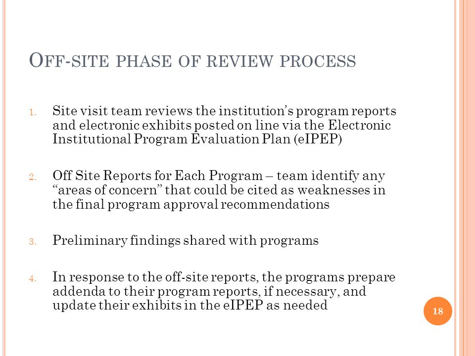 O FF - SITE PHASE OF REVIEW PROCESS 1.