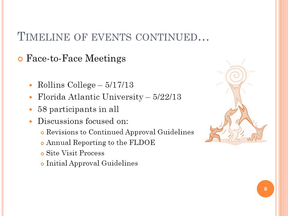 T IMELINE OF EVENTS CONTINUED … Face-to-Face Meetings Rollins College – 5/17/13 Florida Atlantic University – 5/22/13 58 participants in all Discussions focused on: Revisions to Continued Approval Guidelines Annual Reporting to the FLDOE Site Visit Process Initial Approval Guidelines 8